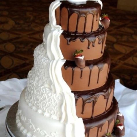 Great symbolism in this cake...uniting of two different personalities into one