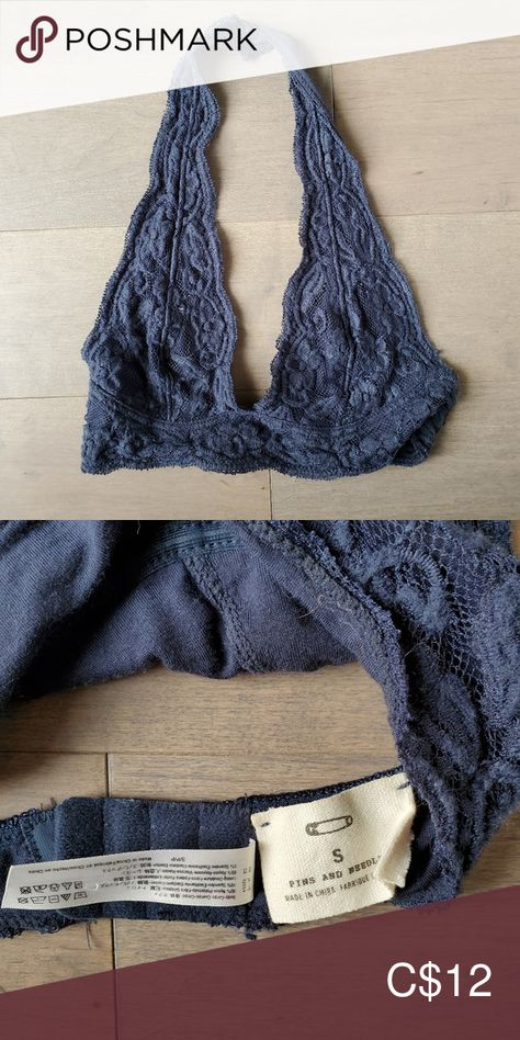 3/$30 Halter bralette urban outfitters -navy lace halter bralette with adjustable hook back -great condition  -purchased from urban outfitters Pins & Needles Intimates & Sleepwear Bras