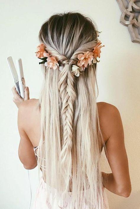 Schone Frisuren Lange Glatte Blonde Haare Blumen Zopf Kleid Madchen Hochzeitsfrisuren Lange Haare Hochzeitsfrisuren Schone Haarfrisuren