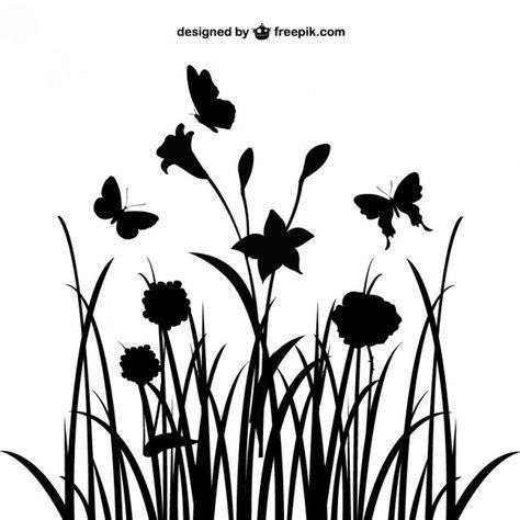 Lade Blumen Landschaft Silhouette Kostenlos Herunter Blumen Silhouette Scherenschnitt Blumen Scherenschnitt Elfe