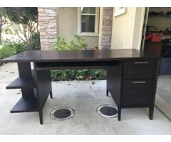 Beautiful Solid Wood Desk W Keyboard Tray And Two Large Drawers Solid Wood Desk Wood Desk Large Bookshelves