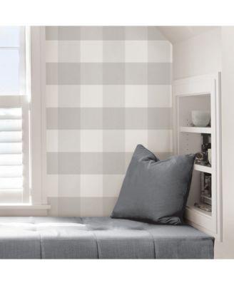 Farmhouse Plaid Peel And Stick Wallpaper Gray Plaid Wallpaper Nuwallpaper Peel And Stick Wallpaper