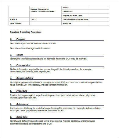 Standard Operating Process Format Template Of Sop Ecza