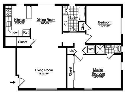 1200 Sq Ft Open Floor House Plans | Two bedroom floor plan ...  Bedroom House Open Concept Plan Square Feet on 1200 square feet 3 bedroom house plans, two bedroom 2 bath house plans, 1200 square feet home,