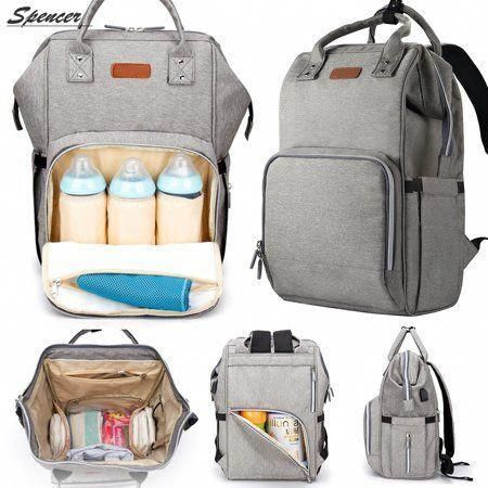 Spencer Waterproof Baby Diaper Backpack Large Capacity Travel Mummy Nappy Bags Nursing Bag With Usb Charging Port Gray Walmart Com In 2020 Baby Diaper Bags Diaper Backpack Baby Diapers