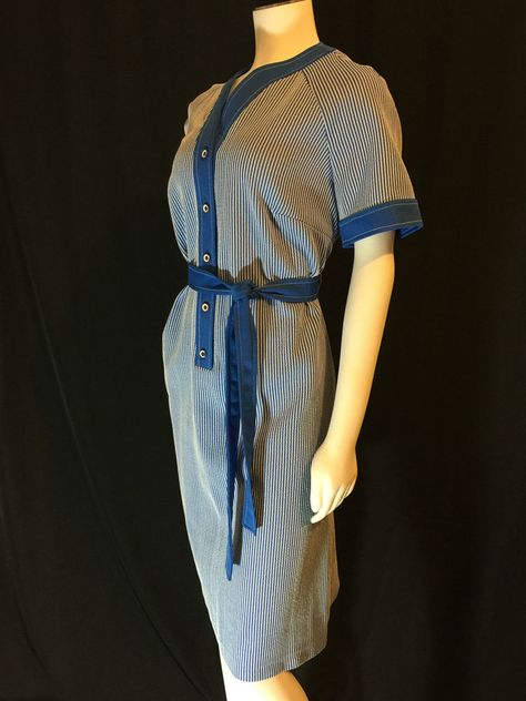 Plus Size Vintage 70s Blue Striped Day Dress vintage dress ...