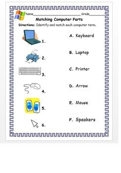 Kindergarten 1st Grade Matching Computer Parts With The Correct