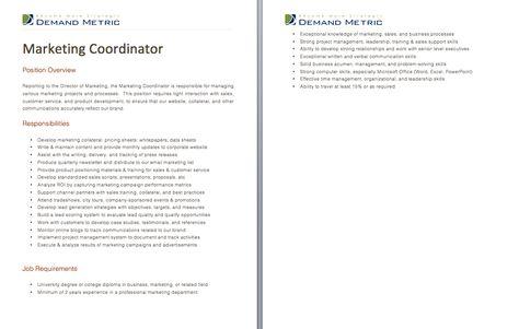 Marketing Coordinator Job Description  A Template To Quickly