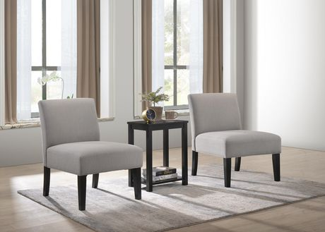 K Elite Aldo 2 Accent Chairs With Occasional Table Grey Accent