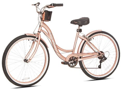 Beach Cruiser Bike Women S 26 Rose Gold Hybrid Low Step Through Bicycle Shimano Beach Cruiser Bike Cruiser Bike Beach Cruiser Bikes Women