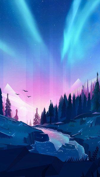 Aurora Borealis Forest Scenery River Digital Art 4k Click Image For Hd Mobile And Desktop Desktop Wallpaper Art Anime Scenery Wallpaper Scenery Wallpaper