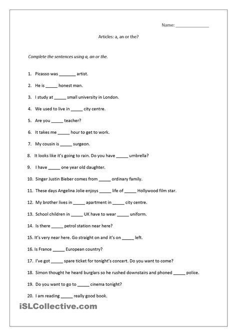Articles worksheet (a, an, the) includes answers. | English ...