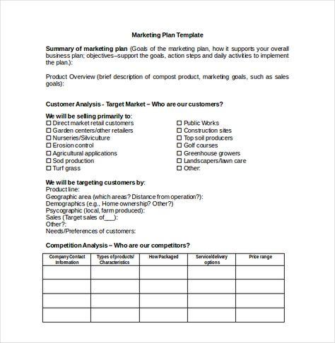 Market Plan  Marketing Plan Template    Marketing Plan
