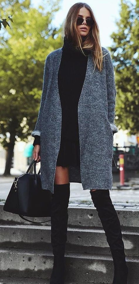A Black Sweater Dress, a Gray Cardigan, and Black Over-the-Knee Boots #black