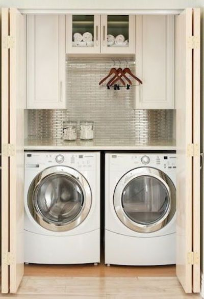 This Closet Laundry Room Is Ideal For A Second Floor Area Or Small Condo Visit The Blog Additional Storage Solutions