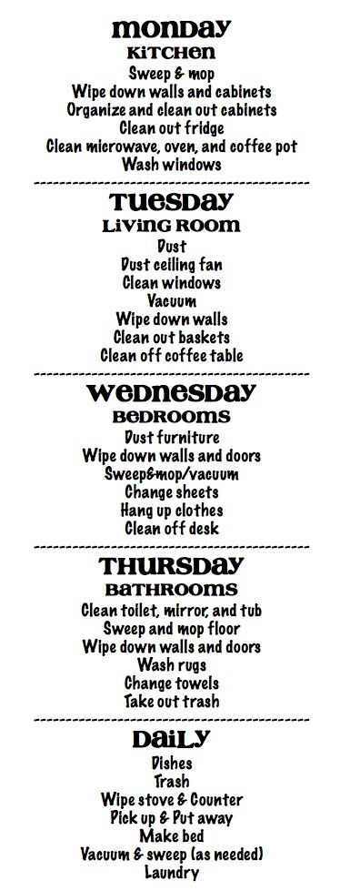 Cleaning Schedule - lots of chores assigned each day, but I think once you get in the habit, the upkeep would be manageable.