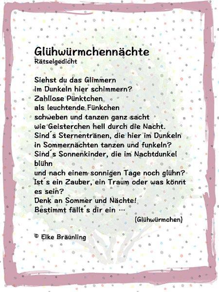 Gluhwurmchennachte Ein Gedicht Zum Juni Elkes Kindergeschichten Geschichten Fur Kinder Kindergedichte Kinder Gedichte