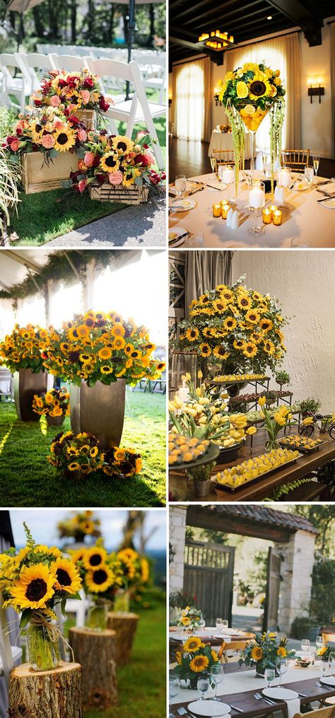 30 Cheerful Sunflower Wedding Ideas for a Rustic Chic Wedding Sunflower Wedding Decorations, Sunflower Wedding Invitations, Wedding Reception Decorations, Wedding Centerpieces, Sunflower Weddings, Wedding Ideas, Sunflower Wedding Arrangements, Wedding Favors, Fancy Wedding Dresses