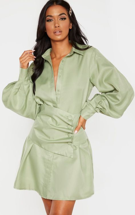 Sage Green Button Waist Detail Shirt Dress | Green shirt