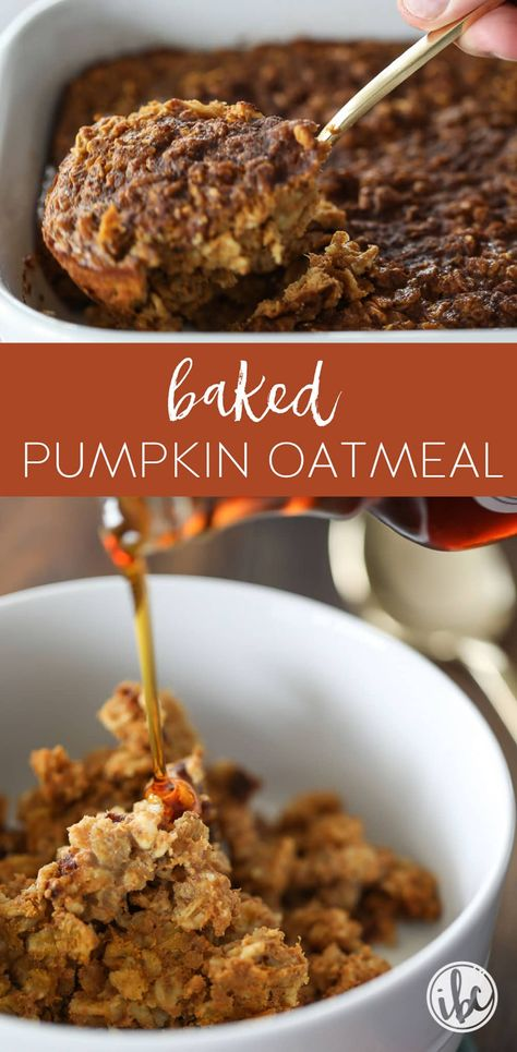 This Baked Pumpkin Spice Oatmeal recipe is the perfect breakfast idea for Fall. #pumpkin #oatmeal #fall #breakfast #recipe #pumpkinspice