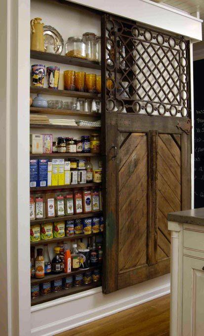 Dishfunctional Designs: New Takes On Old Doors: Salvaged Doors Repurposed horse stall door repurposed as pantry door Salvaged Doors, Old Doors, Barn Doors, Sliding Doors, Repurposed Doors, Recycled Door, Küchen Design, House Design, Design Ideas