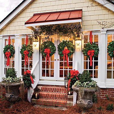 Magnolia wreaths for Christmas.