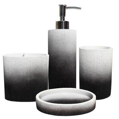 Wrought Studio Endicott Poly Resin 4 Piece Bathroom Accessory Set In 2020 Bath Accessories Bathroom Sets Bathroom Accessories Sets