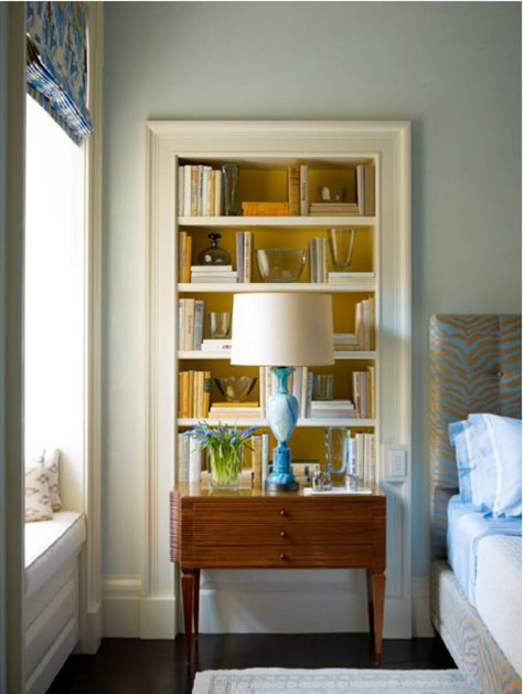 Inset bookcase -- make it between wall studs. From Steven Gambrel, of course.