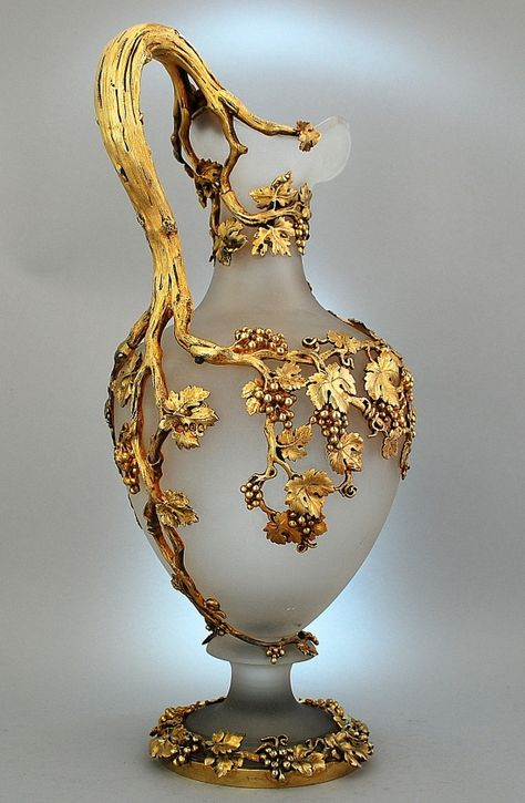 c1843 Hunt and Roskell, London. Frosted glass silver gilt claret jug. (A pair. Alt pics on source)