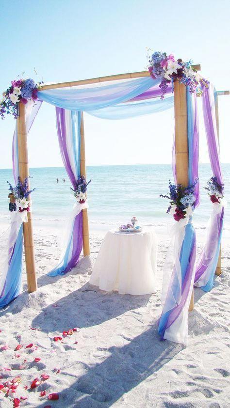Light Blue And Purple Beach Wedding Arch Blue Themed Wedding Beach Wedding Purple Beach Wedding Arch