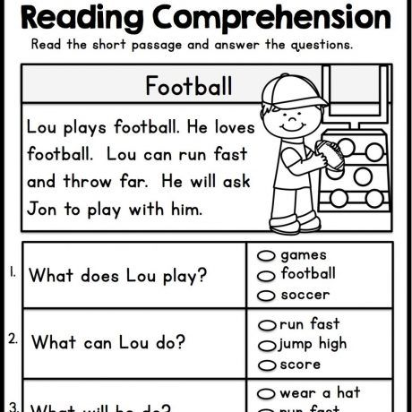 Free Printable Reading Comprehension Worksheets For Kindergarten E