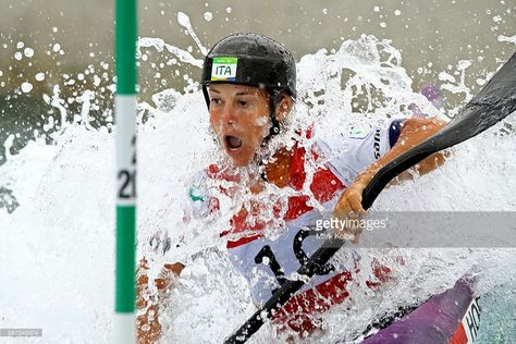 Stefanie Horn of Italy competes during the Men's Canoe Double Slalom (C2) heats on Day 3 of the Rio 2016 Olympic Games at the Whitewater Stadium on August 8, 2016 in Rio de Janeiro, Brazil.