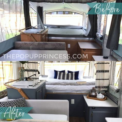 Lisa's Fleetwood Pop Up Camper Makeover - The Pop Up Princess - - With a modest budget and some hard work, Lisa turned a tired 2004 Fleetwood Sedona pop up camper into a gorgeous little oasis. Popup Camper Remodel, Camper Renovation, Diy Camper, Camper Ideas, Camper Life, How To Remodel A Camper, Bus Life, Camping Hacks, Tent Camping