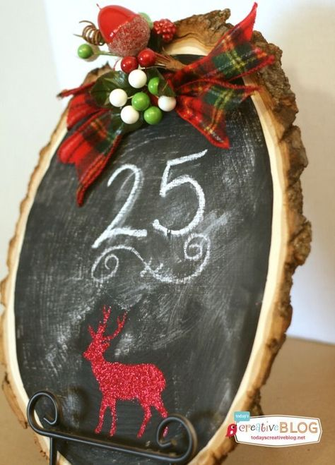 Countdown to Christmas | Make this easy Christmas Craft for fun holiday decoration. Use the chalkboard for a countdown to Christmas, or for any holiday message. See the tutorial on TodaysCreativeLife.com #HolidayIdeaExchange