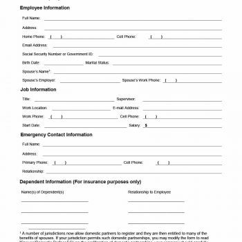 47 Printable Employee Information Forms Personnel Information