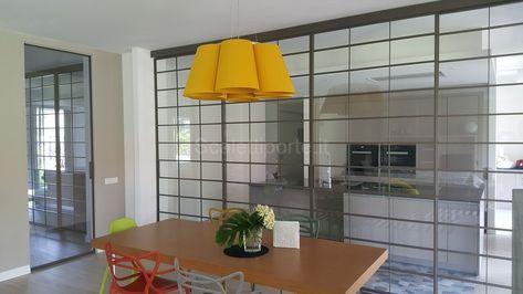Parete scorrevole in vetro divisione cucina e soggiorno - stile ...