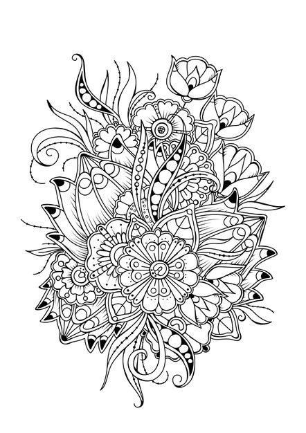 Kolorowanki Z Rocznika Kwiaty Czarno Biale Tlo Wektor Do Kolorowania In 2021 Flower Coloring Pages Coloring Pages Mandala