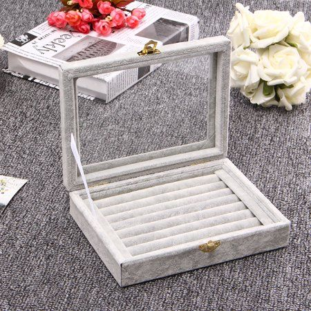 Velvet Ring Jewelry Storage Box Earring Necklace Tray Showcase Organizer Gray In 2019 Glass Jewelry Box Ring Displays Earring Storage
