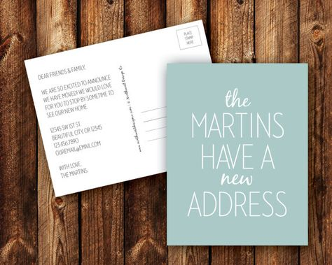 We Have a New Address Announcement Postcard Blue Gray Black Chartreuse Lime Green Mint Modern Just Moved We Moved Card - DIGITAL or PRINTED