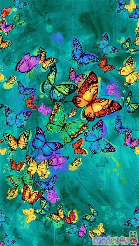 turquoise butterfly panel fabric by Timeless Treasures - Animal Fabric - Fabric - Kawaii Shop modeS4u