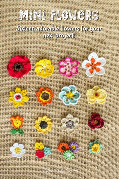 Ravelry: Mini Flowers - crochet pattern for purchase Diy Crafts Ideas Ravelry: Mini Flowers -Read More – The e-book includes patterns for small Moth Orchid, Rose, Poppy, Gerbera… Ravelry: Mini Flowers - patterns (not free) I love looking at the c Crochet Diy, Crochet Patterns Amigurumi, Love Crochet, Crochet Motif, Crochet Crafts, Crochet Stitches, Crochet Projects, Knitting Patterns, Crochet Appliques