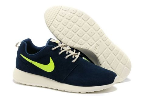 new products 32628 7daa8 Roshe Run Low Homme Marine Pour Nike Bleu Marine Blanc Fluorescent Vert
