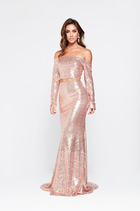 1088a3bfe68e Rose Gold Two Piece Prom Dress