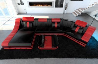 Vintage Sofa Dreams Luxus Wohnlandschaft TURINO C Form mit LED Beleuchtung Jetzt bestellen unter https