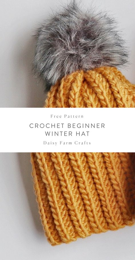 Crochet Hat Free Pattern - Crochet Beginner Winter Hat - Hi friends! I made my daughter Nicolina a winter hat…in black. And as I have quickly discovered, although black is… Crochet Simple, Crochet Diy, Quick Crochet, Crochet Crafts, Crochet Projects, Diy Projects, Bonnet Crochet, Crochet Beanie Pattern, Chunky Crochet Hat
