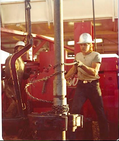 """Rob Johnson: """"In times past, the spinning chain was commonly utilized to make a connection on a drilling rig. This is a pic of me """"throw'in the chain"""" on a Norton Drilling rig operating in Wyoming's Green River Basin in 1980."""" #HUMANSofOG - Oilpro.com - #TBT"""