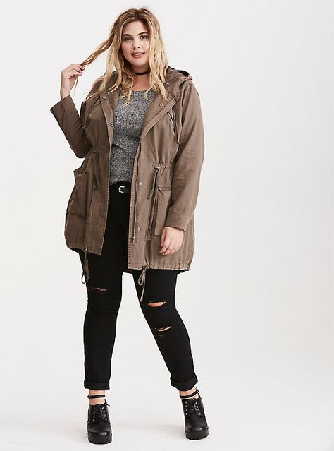 Plus size twill anorak jacket.
