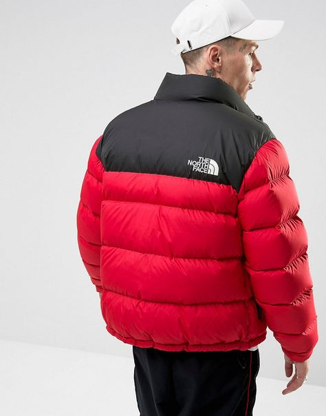 The North Face 1992 Nuptse Down Jacket 2 Tone In Red Black Red Mens Winter Fashion Jackets Down Jacket