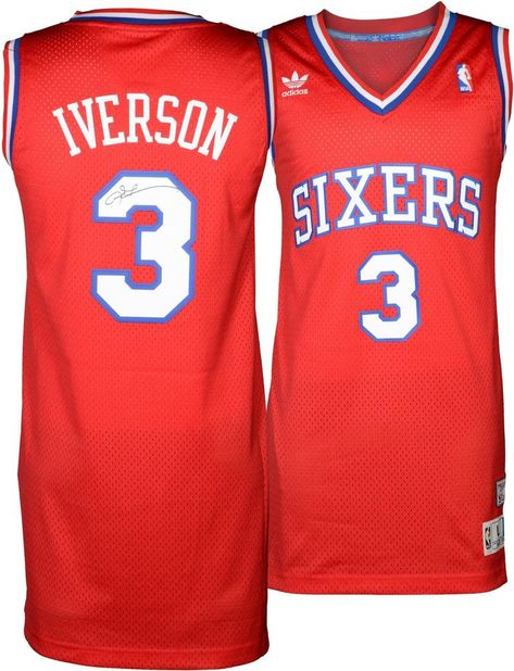 09d77821327 Allen Iverson Philadelphia 76ers Signed adidas Swingman Throwback Red  Jersey #Basketball