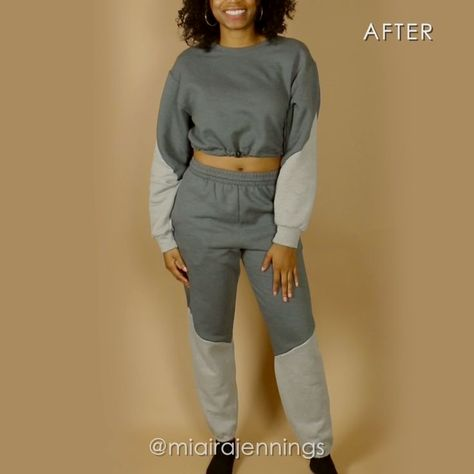 Here's how to turn a basic sweatshirt and sweatpants into a dynamic color block crop top and pants set with some simple sewing!   #sewing #fashion #outfit #croptop #sweatpants #diy Song: Do It x Ikson